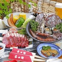 海鮮6種と厳選肉3種のまんぷくBBQプラン♪