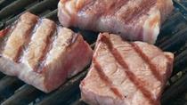 福井県のご当地和牛『若狭牛』のサイコロステーキはミディアムレアで♪岩塩とおろしぽん酢がバッチリ!