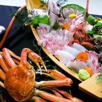 【ご夕食一例】カニと舟盛(冬季限定)