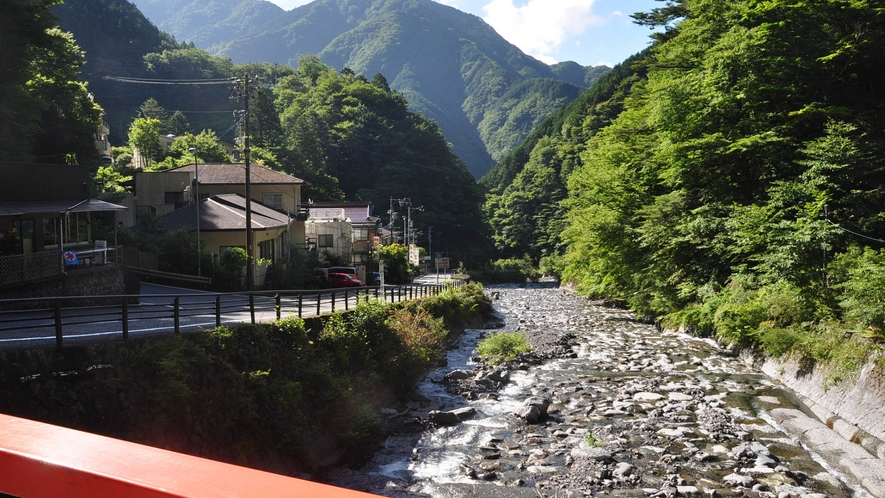 宿の前を流れる安倍川