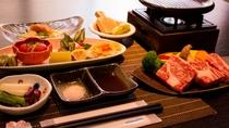 静岡産の牛陶板焼き付きプラン一例