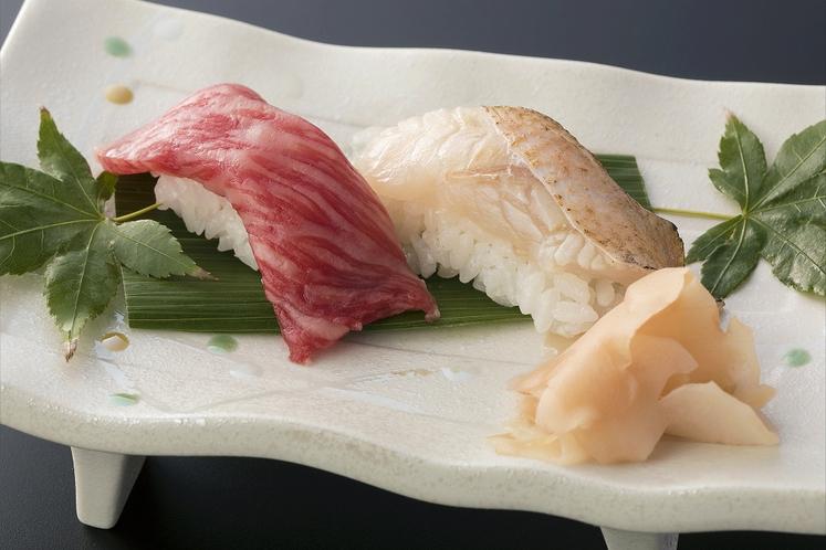 山水 但馬ビーフ握り寿司・のどぐろ炙り握り寿司