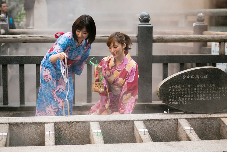 温泉を使った湯がき体験(荒湯玉子作り)