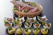 朝食バイキング 日本海の幸 お造里いろいろ