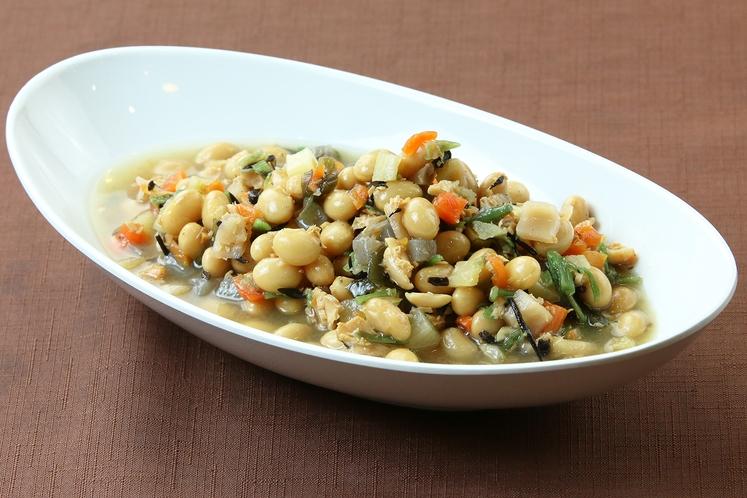 無料朝食~おふくろの味 お豆とひじきのごった煮