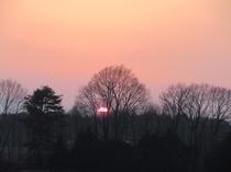 南アルプスと八ヶ岳の間に沈む夕陽(4月)
