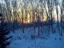 ペンション前から撮影、夕日