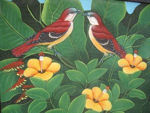 小鳥のタペストリ−