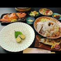日本海の美味しを同時に楽しむ かにふぐコース