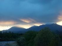 日光連山に沈む夕日