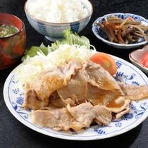 ボリューム満点の生姜焼き定食