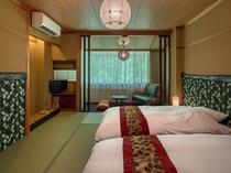 「ローベッド和室」一例。ベッドがくっつくので小さいお子様の添い寝も安心♪