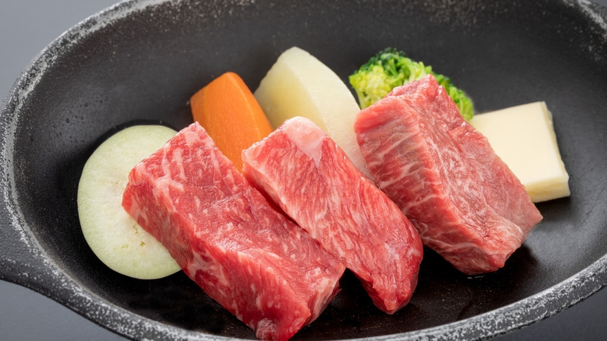 【お気軽会席】メインはA5等級飛騨牛モモ鉄板焼き50g