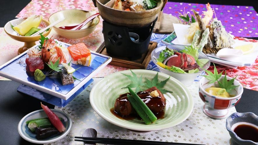 ■【ご夕食一例~欅御膳~】豚の角煮をメインに地魚や自家栽培野菜を使った旬の料理をお楽しみください。