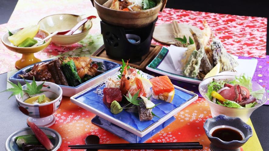■【ご夕食一例~桜御膳~】赤魚の煮付けをメインに地魚や自家栽培野菜を使った旬の料理をお楽しみください