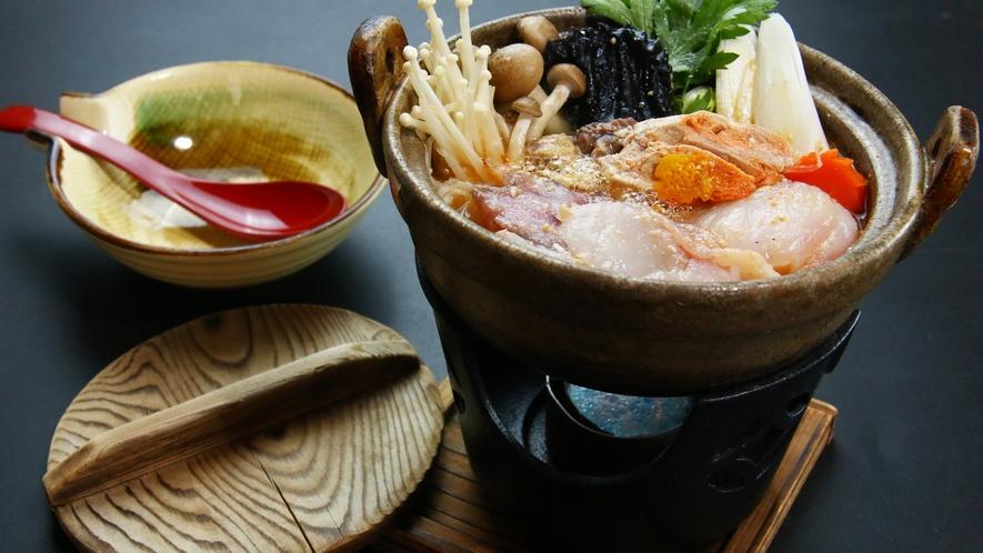 ■【ご夕食一例~旬彩御膳~】冬季限定!館主も絶賛の名物あんこう鍋はこだわりの味噌仕立て