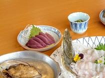 01あわび一人3個つき「踊り焼き・造り・煮貝」DXコース旬の魚活き造り付き