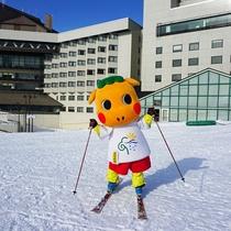 【ぐりぐり×スキー場】ホテルの人気者「ぐりぐり」はスキーが大好き!時々ゲレンデにも遊びに来ます♪