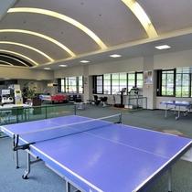 【体育館(通年)】屋内にあるので、雨や雪など天候に左右されず卓球やバトミントン等を楽しめます。