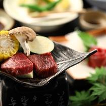 ■信州牛の陶板焼き 季節のお野菜とともに
