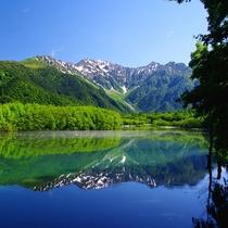 ■【初夏の上高地】水面にはくっきりと山の景色が映っています