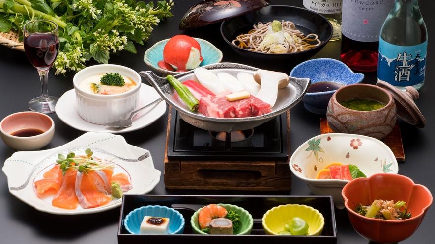 地元食材をメインとした季節の和食会席です(メニュー例)