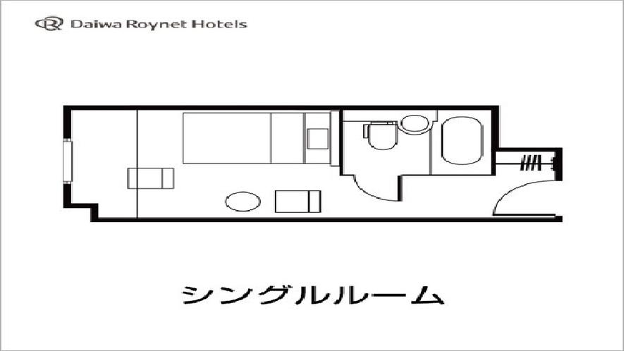シングルルーム図面 140cm幅Wベット・18平米