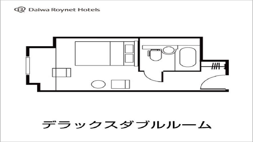 デラックスダブルルーム図面 170cm幅クイーンサイズベット・20平米
