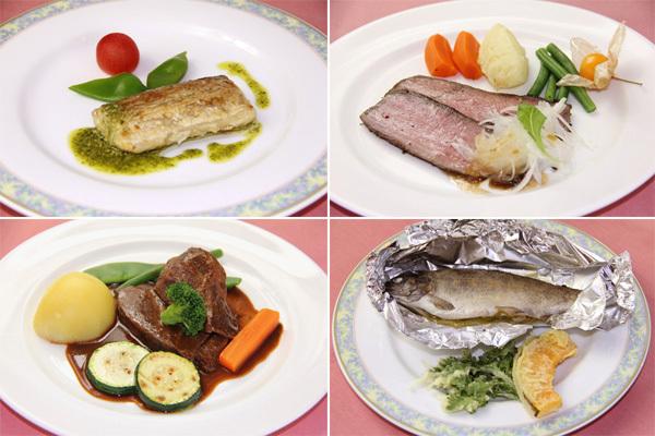 自家製ハーブや契約農園の野菜を使用したスノーバードのフルコースディナー