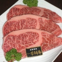 地元ブランド蓼科牛のステーキ