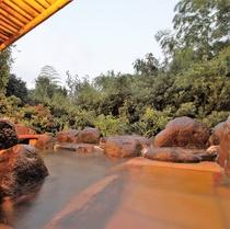 【離れの露天風呂】寝湯のある岩造り お食事前にのんびりどうぞ(貸切風呂付プランのみ)