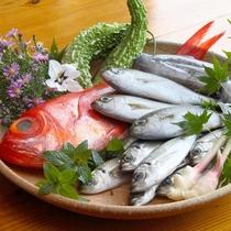夕食イメージ 新鮮な地魚や季節の野菜など素材を生かした料理をお楽しみください