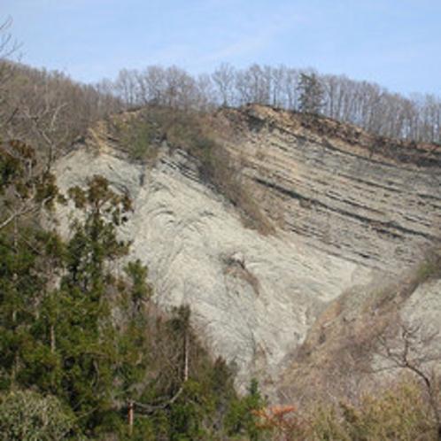 【ようばけ】白い岩肌をみせている大きな崖があり、この崖を「ようばけ」と呼んでいまます。