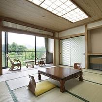 【12畳の和室一例】お部屋からはのんびりとした田舎風景が見えます。