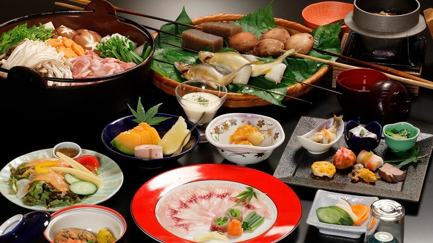 *【夕食/囲炉裏懐石(一例)】自家農園の無農薬野菜や秩父の里山食材の囲炉裏料理