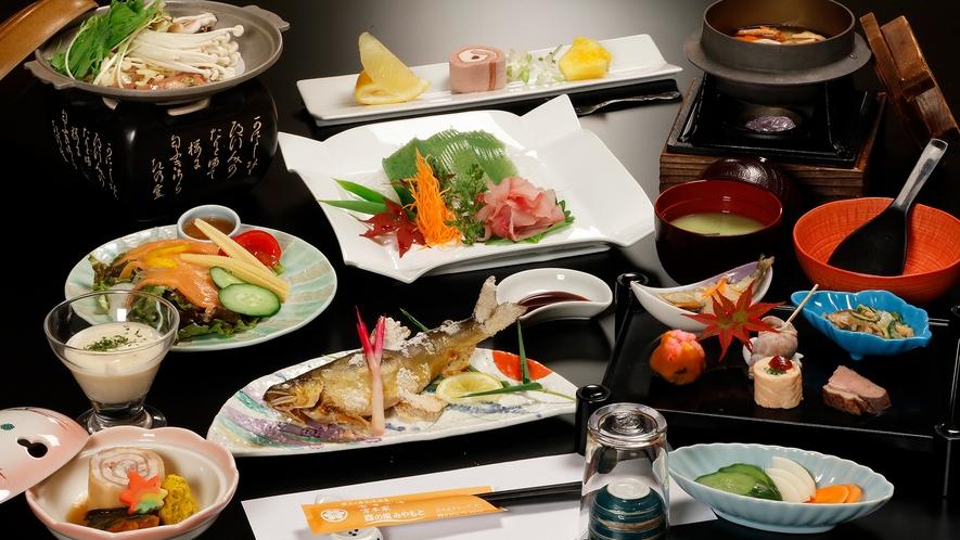 *【夕食/里山会席(秋の膳一例)】自家農園と里山で育った野菜や山菜がたっぷりのお料理