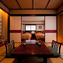 落ち着きのあるベッドルームと和空間【庭側和洋室】