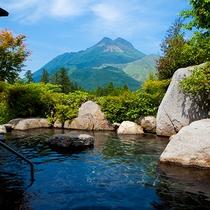 雄大な由布岳に見守られながら過ごす癒しのひととき。