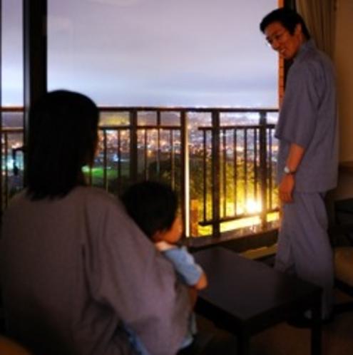 タウンビューの部屋からの夕景<ファミリー>