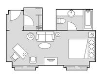 デラックスダブル36平米 見取図 一例