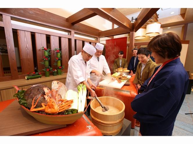 お食事処「味彩」にて、男鹿半島名物「石焼料理」の実演!