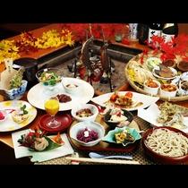 秋の料理一例。実際に料理が一度に並ぶということはなく、出来立てを一品ずつお出しします。