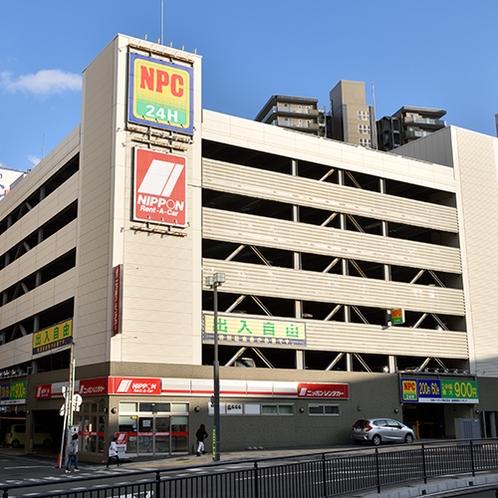 【駐車場は近隣のパーキングへ】1泊900円~ご利用頂けます。ホテルに駐車場MAPをご用意。
