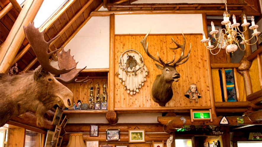 ・メインログハウスにはたくさんの馬の置物が飾られています