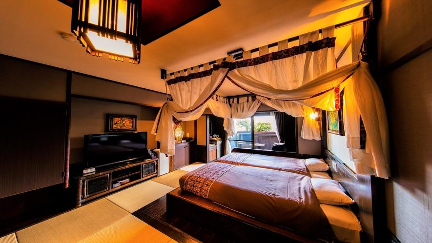 【本館1F】半露天風呂つき天蓋ハリウッドツイン和洋室