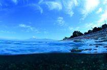 海から大瀬海岸と富士山