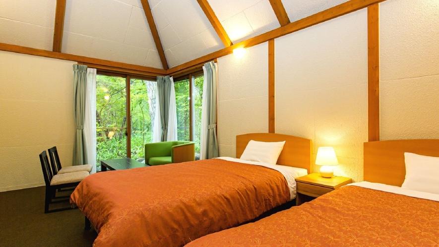 ◇【ふくろうの森】スタンダード洋室(一例)/静かな森の中で自然を感じるコテージタイプのお部屋