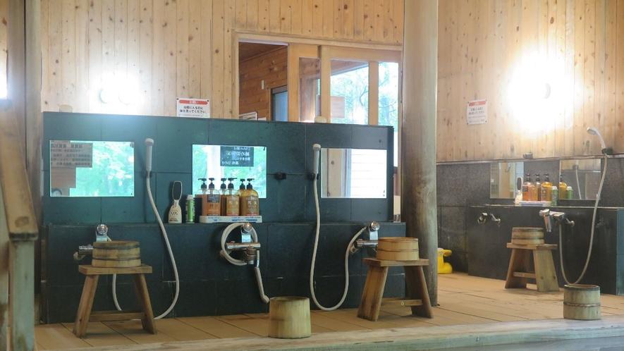 ◇オリエンタルガーデン大浴場<湯処ひのき>大浴場の洗い場は1箇所おきに使用不可にし間隔を空けています