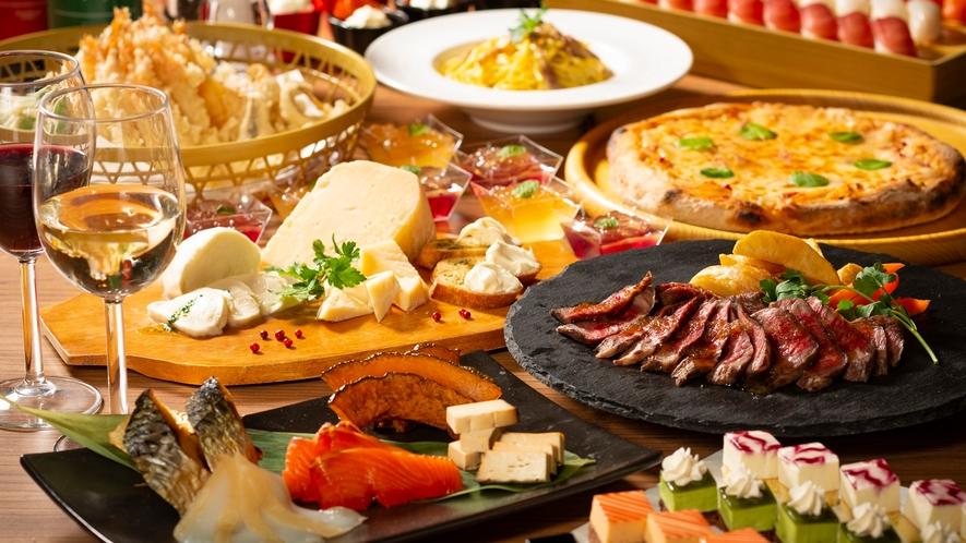 【夕食】ディナービュッフェは約90種類(写真はイメージです)