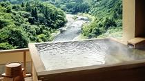 露天風呂付客室(ツイン/ダブル)から渓谷の眺め